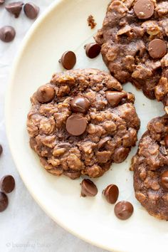 Vegan Double Chocolate Chip Chewy Oatmeal Cookies (Gluten-Free, Healthy, Dairy-Free, Refined Sugar-Free)October 2018 By Demeter Healthy Oatmeal Cookies, Oatmeal Chocolate Chip Cookies, Breakfast Cookies, Breakfast Dessert, Best Vegan Chocolate, Chocolate Chocolate, Coconut Chocolate, Vegan Frosting, Ice Cream Recipes