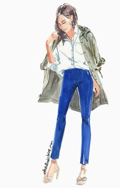 a look from the J.Crew Style Guide | watercolor fashion illustration www.sketchbookcloset.com