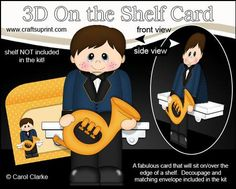 3D On the Shelf Card Kit French Horn Player Boy Jon on Craftsuprint - View Now!