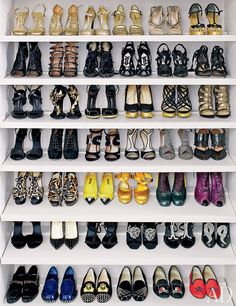 Bespoke shoe storage in fashion editor and Project Runway judge Nina Garcia's dressing room.