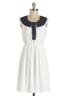 Starboard of Trustees Dress - Short, White, Blue, Solid, Peter Pan Collar, Casual, A-line, Sleeveless, Collared, Polka Dots, Nautical, Summer, Daytime Party