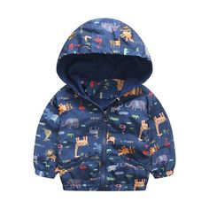 Baby Girls Boys Active Hooded Outerwear Coats Kids Clothing Giraffe Printing Jacket Windbreaker Pattern  #Affiliate