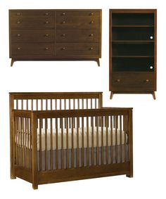 Take a look at this Walnut Built to Grow Encore Crib, Dresser & Bookcase Set by Young America on #zulily today!