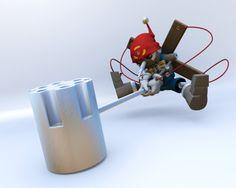 digimon pinocchimon/puppetmon hammer  blender 3D