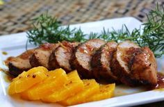 Step-by-step tutorial on making Ginger Orange Pork Tenderloin. ginger orange glaze for pork, grilled pork tenderloin, Pork Recipes, Cooking Recipes, Cooking Pork, Ginger Pork, Great Recipes, Favorite Recipes, My Burger, Pork Ham, Grilled Pork
