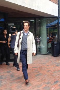 """Matthew McConaughey walks by the Sackler Science Center in character during filming of """"The Sea of Trees"""" on Clark's campus. Matthew Mcconaughey, Walking By, Clarks, Worcester, Actors, Film, Trees, Science, Sea"""