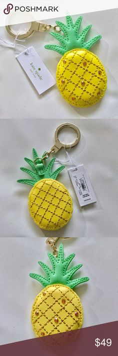 "Kate Spade Pineapple Key Chain Fob New with tag Kate Spade Pineapple key chain fob.  Measures about 4"" x 2"".  Yellow leather green leather, gold tone hard ware.  Crystal embellishment on one side.  No trades. kate spade Accessories Key & Card Holders"