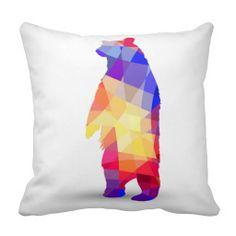 Geometric Bears Throw Pillow  $30.95/ea  #geometric #bears #pillow