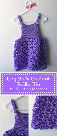 5 Little Monsters: Lacy Shells Crocheted Toddler Top, free crochet pattern ༺✿ƬⱤღ  https://www.pinterest.com/teretegui/✿༻
