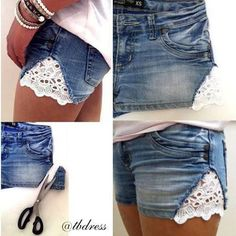 Tired of those old shorts? Make them into something new and stylish with lace inserts!