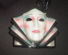 Clay Art Ceramic Mask Harlequin TV Lamp Extremely RARE |