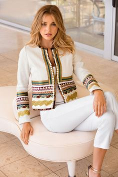 Our textured, collarless white jacket is designed with layers of luxe crochet details and petite pom-pom trim. Its a chic layering piece for the season and beyond. Trend Fashion, Boho Fashion, Fashion Dresses, Womens Fashion, Fashion Tips, Fashion Design, 2000s Fashion, Fashion Black, Fashion Details