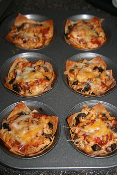 """Taco """"Cupcakes"""" They had me at """"chili oil"""" Yum! Food For Thought, Think Food, I Love Food, Good Food, Yummy Food, Yummy Taco, Awesome Food, Mexican Food Recipes, Beef Recipes"""