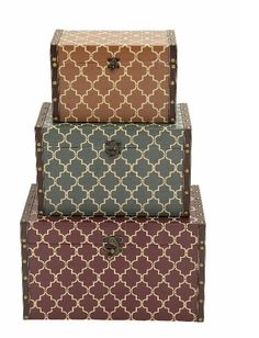 Moroccan Pattern Faux Leather Wood Rectangular Storage Box Set of 3 Decorative Storage Boxes, Decorative Objects, Storage Sets, Maroon Background, Moroccan Pattern, Wood Vinyl, Color Box, Design Case, Brown And Grey