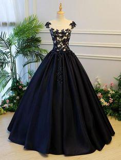 Ball Gown Prom Dresses Scoop Lace-up Dark Navy Floor-length Satin Long Prom Dress JKL679