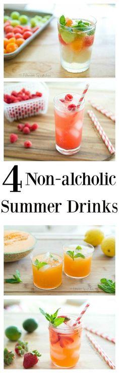 Four non-alcoholic refreshing summer drink recipes. Cantaloupe agua fresca, raspberry vanilla soda, strawberry limeade, and melon sorbet float. So easy!