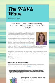 The Middle School #WAVA Wave September Newsletter.