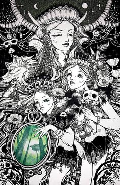 Shaman sisters and forest spirit-High quality print of hand