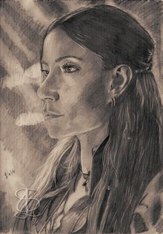 Clara Paget as Anne Bonny in 'Black Sails'. Freehand sketch using HB pencil and eraser. Darkened, tinted etc. digitally.
