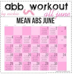 Month long workout for abs (great idea to make a calender goal)
