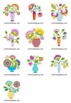 Diseños de estilo jacobino-Floral-Jarrones Bordado