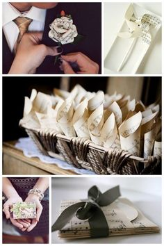 Art Sweet ideas for using vintage (or faux vintage) sheet music to make various things for weddings or parties. wedding-event-inspiration