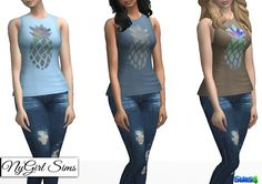 Pineapple Decal Tank. An adult version of the tank that came in the Kids Room stuff pack. Made with TS4 textures. Comes in 10 presets. Base game compatible. DOWNLOAD