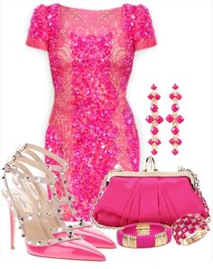A PINK collection of dress and accessories. lol it's a bit OTT! ;) Mo
