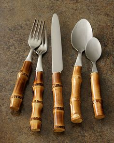 "Five-Piece ""Bamboo"" Place Setting, Natural - Neiman Marcus"