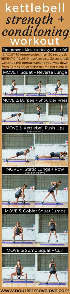 Strength + Conditioning Kettlebell Workout. 30 minute total body workout challenge. At home or at the gym. Squat, lunge, burpee, shoulder press, push ups, back rows, goblet squats, sumo squats, bicep curls. | www.nourishmovelove.com