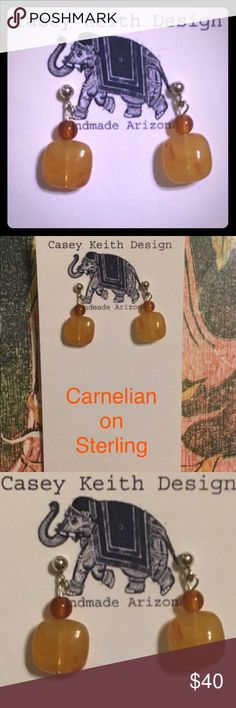 Carnelian on Sterling Carnelian in multiple shades dangles from Sterling silver post earring.  A wonderful accompaniment to your favorite turtleneck & vest combo. Artists signature gift packaging included with purchase. Bundle discount . Casey Keith Design Jewelry Earrings
