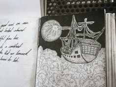 """In this #penandink #drawing by Lucas Stenberg (@stiglucasstenberg) a ghostly airship stalks the night sky under the glow of a full moon. Or perhaps the flying ship is just moored amongst the clouds for the night? I suppose the latter is more accurate considering the furled sails and released anchor... but I always default to """"ghost"""" or """"pirate"""" when describing a ship sailing at night so that's what my Personal Internal Narrative Engine came up with.  Really great stippling work on the moons…"""