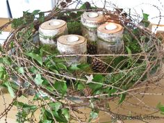 Advent wreath of elderflower® It consists of larch branches, ivy, moss . Advent wreath of elderflower® It consists of larch branches, ivy, moss and rosemary branches from Christmas Advent Wreath, Primitive Christmas, Rustic Christmas, Winter Christmas, Christmas Time, Christmas Crafts, Decoration Table, Xmas Decorations, Holly Flower