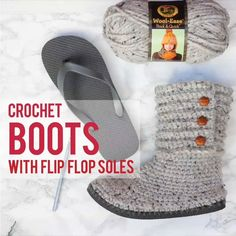 # Häkeln Sie Hausschuhe Flip Flop How to crochet boots with in . # Häkeln Sie Hausschuhe Flip Flop How to crochet boots with flip flops – Free pattern + video tu Crochet Diy, Quick Crochet, Crochet Boots, Crochet Crafts, Crochet Clothes, Crochet Projects, Tutorial Crochet, Sewing Projects, Diy Projects