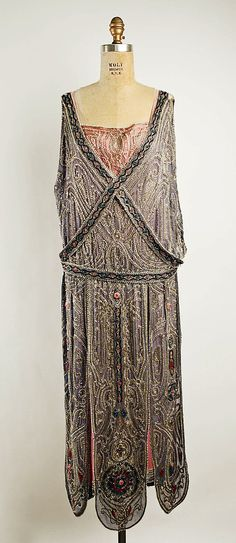 House of Lanvin  (French, founded 1889)    Designer:      Jeanne Lanvin (French, 1867–1946)  Date:      spring/summer 1923  Culture:      French  Medium:      silk, metallic thread, glass beads