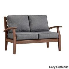 Yasawa Brown Modern Outdoor Cushioned Wood Loveseat By Napa Living (RED  Cushion), Size Single, Patio Furniture (Fabric). Sofa ChairLoveseatsOutdoor  ...