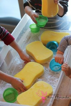 Preschool Water Table Ideas Simply adding: large sponges - found at the dollar store a small amount of water gentle soap if desired creates a fun water table for preschoolers! While out shopping I found these sponges and decided to switch up the sensory table with water and sponges. The sponges would be a new item… #daycarerooms #startadaycare