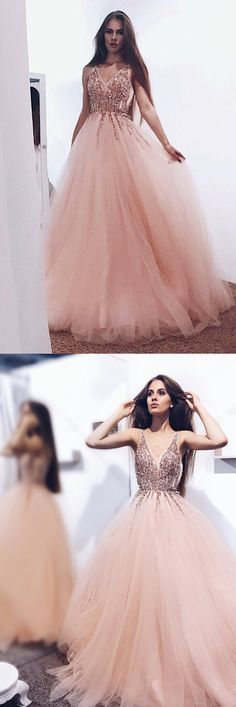 2018 Charming Shining Prom Dresses, V Neck Sequin Sparkly Gorgeous Green Blue Pink Prom Dresses M1758#prom #promdress #promdresses #longpromdress #2018newfashion #newstyle #promgown #promgowns #formaldress #eveningdress #eveninggown #2019newpromdress #partydress #meetbeauty #aline #sequin #vneck #tulle #shining