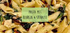 Pasta boursin met spinazie - Lekker en Simpel Easy Pasta Recipes, Pasta Salad Recipes, Easy Healthy Recipes, Healthy Food, Red Sauce Pasta Recipe, Pasta Fagioli Recipe, Pork Dishes, Pasta Dishes, Rice Dishes