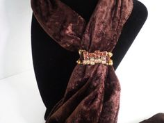 Scarf Jewelry, scarf slide, beaded curtain jewelry, stole jewelry, brown yellow sparkle bandanna slide, Headscarf slide, Headband jewelry  Decorate your scarf with this bea...
