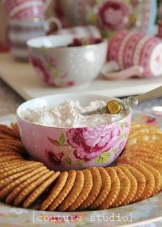Use a tea cup in the center of a plate for dip, dressing, etc. by DeeDeeBean