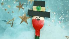 Wooden Spoon Christmas Friends - Kid Craft Glue Crafts, Wood Crafts, Mermaid Kids, Butterfly Kids, St Pattys, Wooden Spoons, Leprechaun, Crafts For Kids, Sunday School