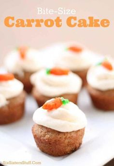 Cakes These Bite-Size Carrot Cakes from SixSistersStuff.Com are perfect desserts for a big crowd this holiday season!These Bite-Size Carrot Cakes from SixSistersStuff.Com are perfect desserts for a big crowd this holiday season! Mini Desserts, Finger Desserts, Bite Size Desserts, Desserts For A Crowd, Delicious Desserts, Small Desserts, Healthy Desserts, Elegant Desserts, Tea Party Desserts