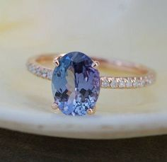 Tanzanite Ring. Rose Gold Engagement Ring 2.16ct by EidelPrecious