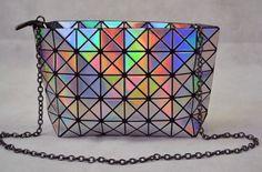 Laser Silver color Plaid Women Handbag Messenger clutch Shoulder Chain bag #Handmade #MessengerCrossBody