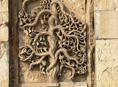 These are stone carvings on the wall of Jumma Masjid or Shahi (Royal) masjid, built in the early part of the 15th century. This mosque was built by the king and is unique in that even women could attend the prayers in a separate enclosure, which was at a higher level, and was separated from the main hall by stone jallis (lattice). The jallis permitted them to view the proceedings without being observed by the men folk below. The mosque prayer hall had over 300 pillars supporting the about 3…