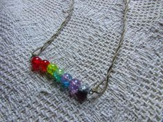 rainbow cracked glass necklace by craftyoyster on Etsy, $1.50