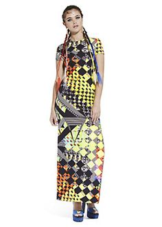 Versace - OPTICAL COLOUR PRINT MAXI DRESS