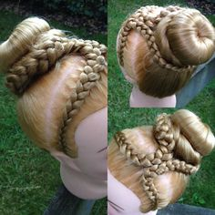 Double braided headband into bun by yiyayellow