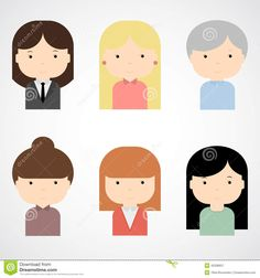 Set of colorful female faces icons. Trendy flat style. Funny cartoon characters.